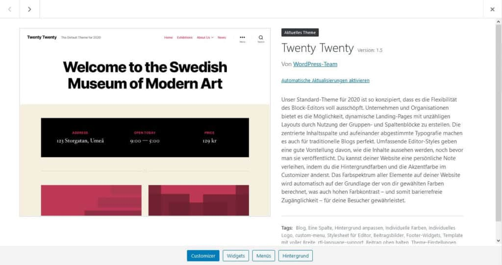 WordPress Version 5.5 Update Screenshot Theme Aktualisierung