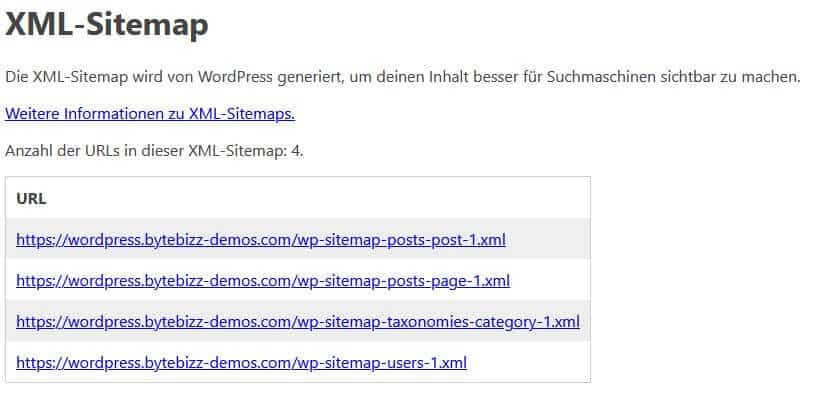WordPress Version 5.5 Update Screenshot XML Sitemap