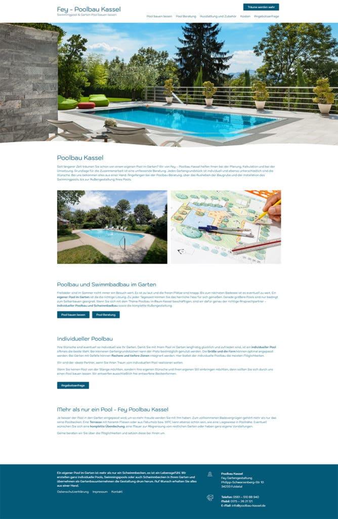 Webdesign Referenz Poolbau Kassel