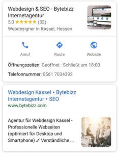Google Mobile Suche Darstellung